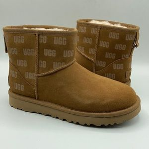 UGG Classic Mini Chestnut Print Suede Boots